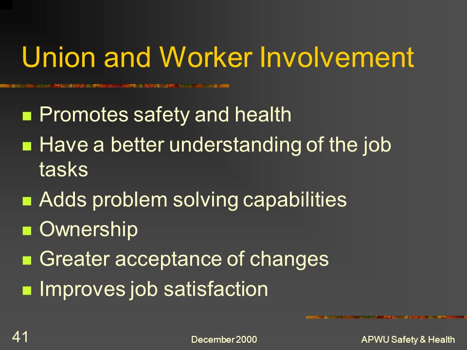 Union and Worker Involvement