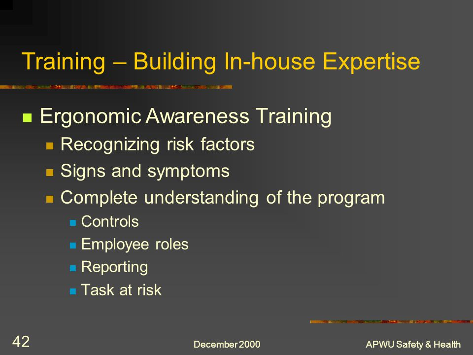 Training – Building In-house Expertise