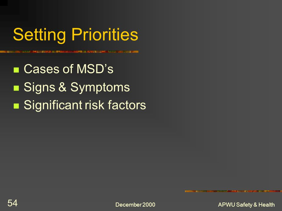 Setting Priorities Cases of MSD's Signs & Symptoms