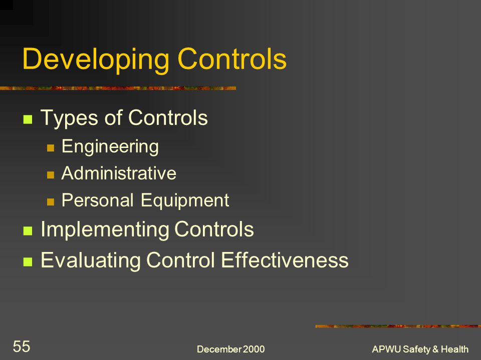 Developing Controls Types of Controls Implementing Controls