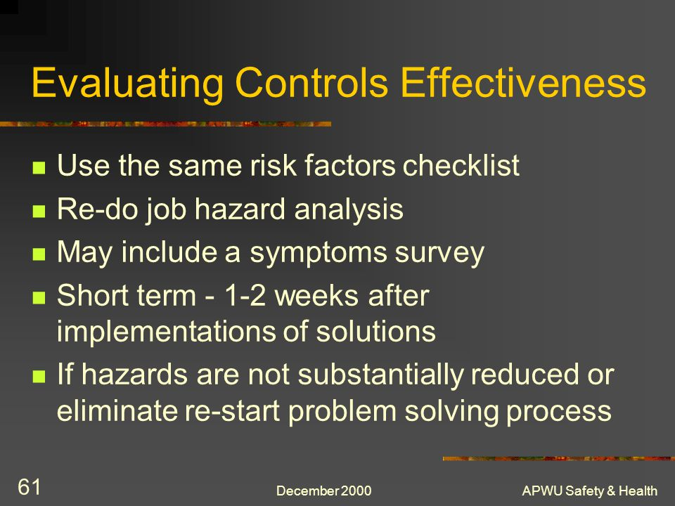 Evaluating Controls Effectiveness