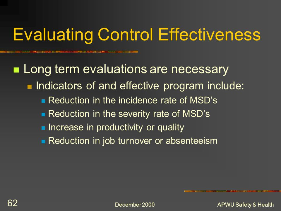 Evaluating Control Effectiveness
