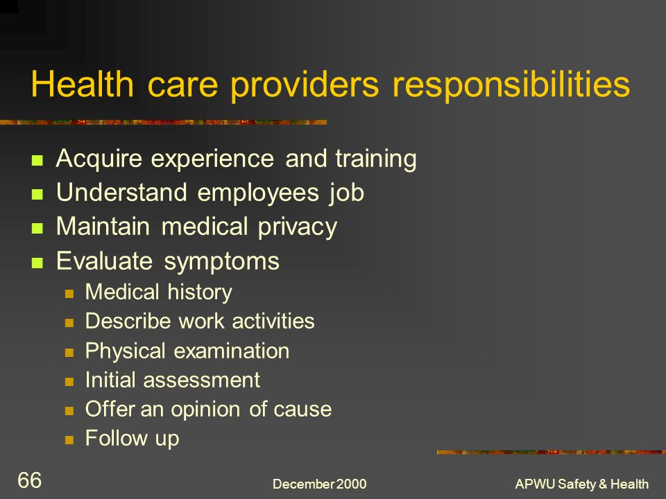 Health care providers responsibilities