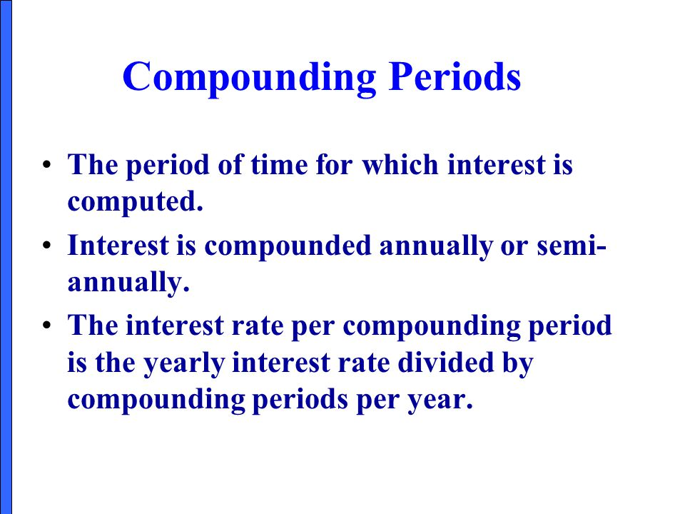 Compounding Periods The period of time for which interest is computed.