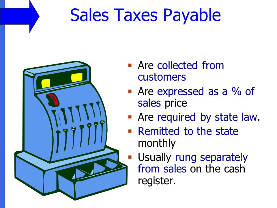Sales Taxes Payable Are collected from customers