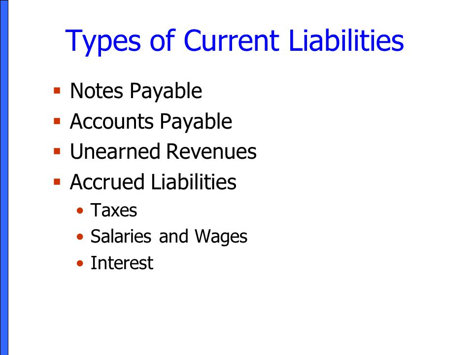 Types of Current Liabilities