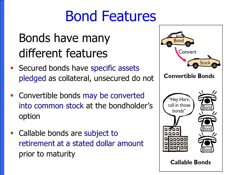 Bond Features Bonds have many different features