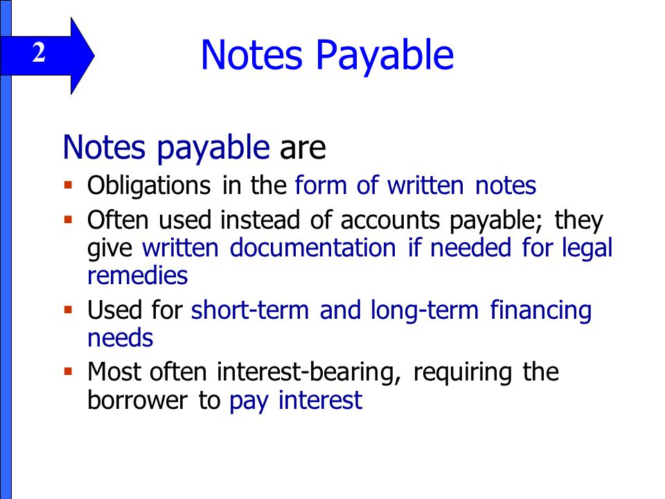 Notes Payable Notes payable are 2