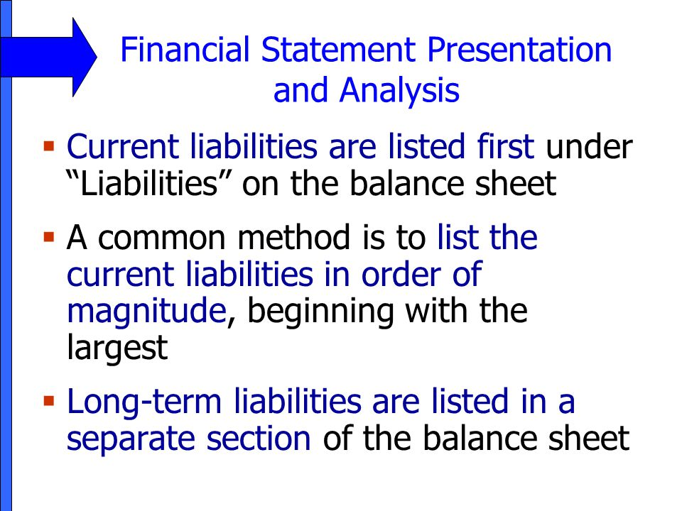 Financial Statement Presentation and Analysis