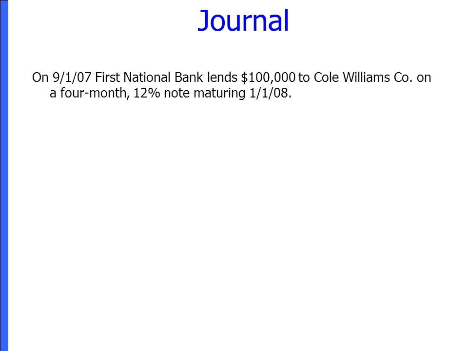 Journal On 9/1/07 First National Bank lends $100,000 to Cole Williams Co.