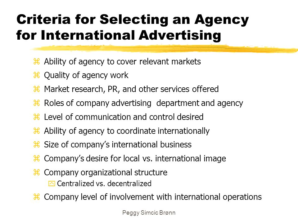 Criteria for Selecting an Agency for International Advertising