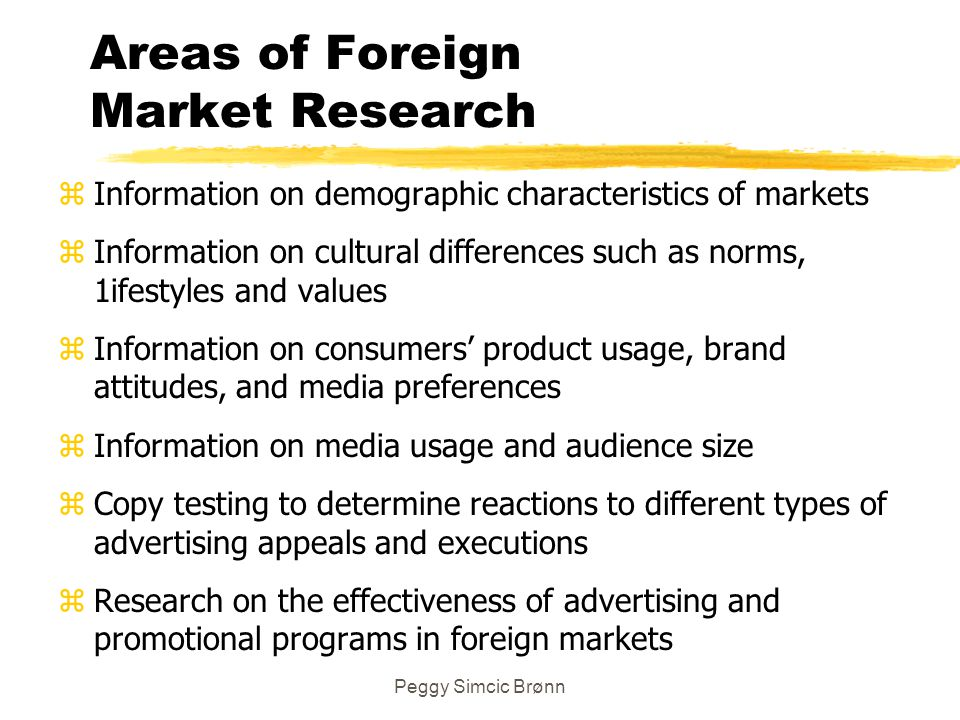 Areas of Foreign Market Research