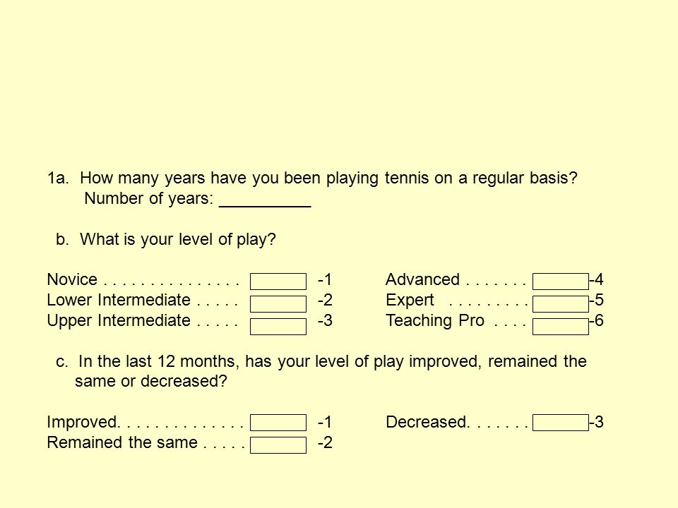 1a. How many years have you been playing tennis on a regular basis