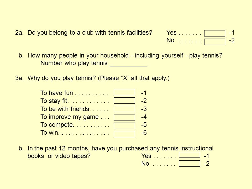 2a. Do you belong to a club with tennis facilities Yes . . . . . . . -1