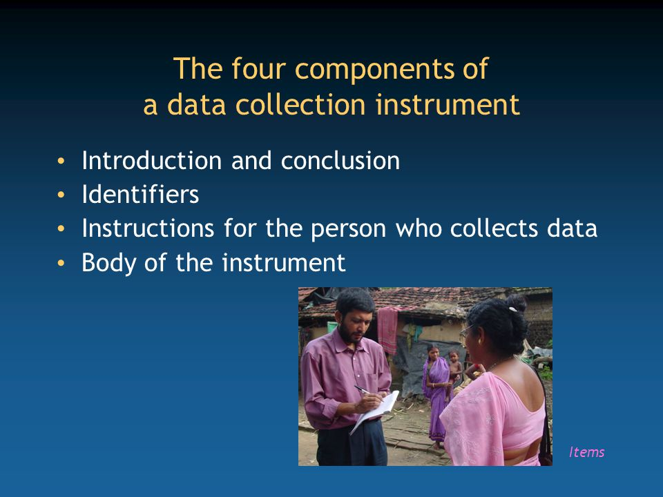 The four components of a data collection instrument