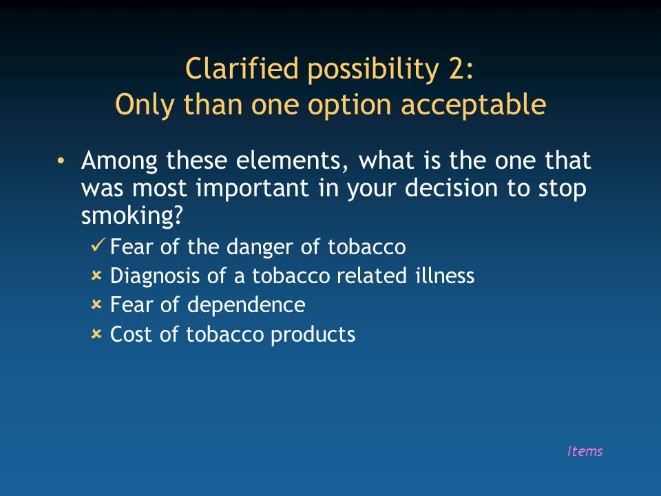 Clarified possibility 2: Only than one option acceptable