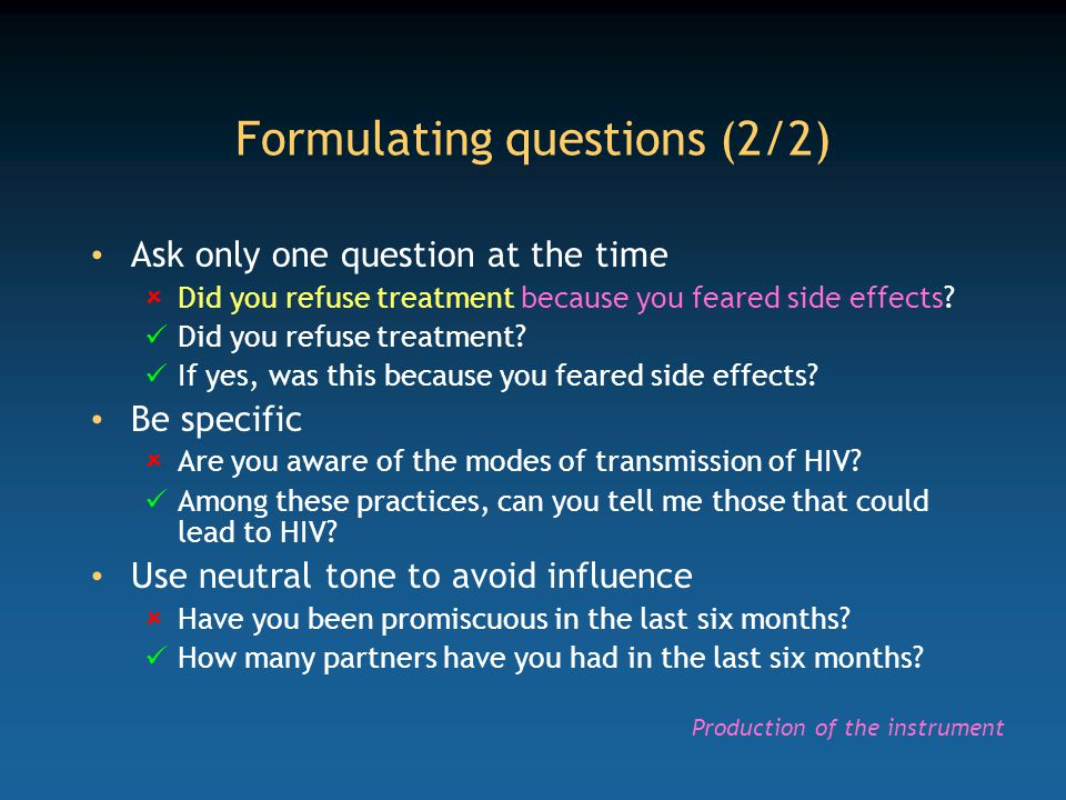 Formulating questions (2/2)