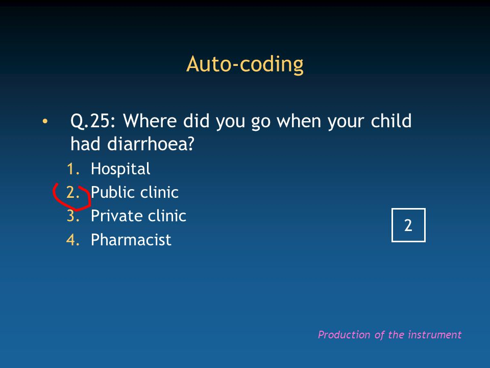 Auto-coding Q.25: Where did you go when your child had diarrhoea