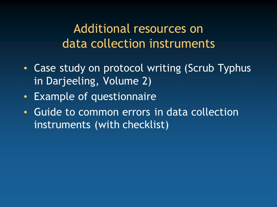 Additional resources on data collection instruments