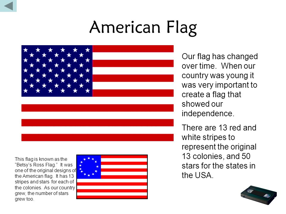 American Flag Our flag has changed over time. When our country was young it was very important to create a flag that showed our independence.