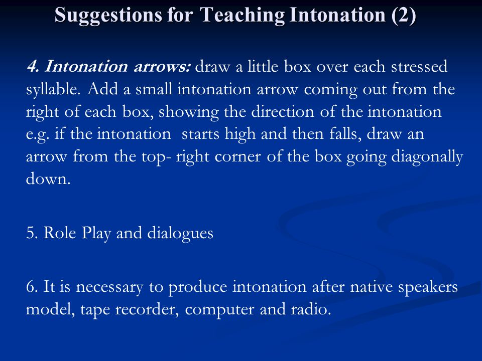 Suggestions for Teaching Intonation (2)