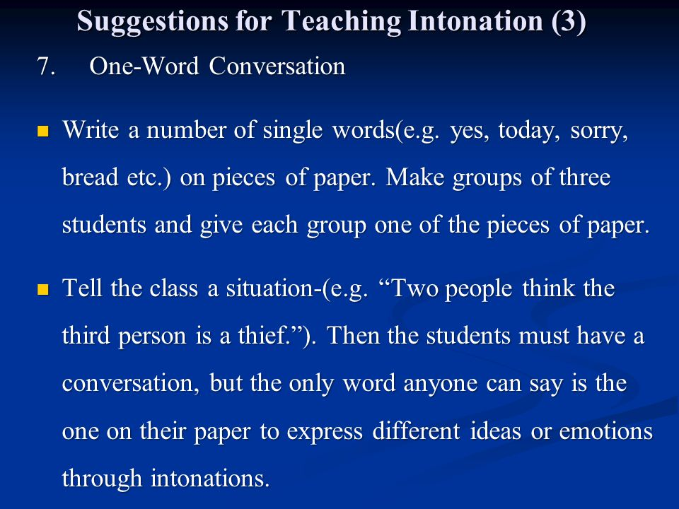 Suggestions for Teaching Intonation (3)
