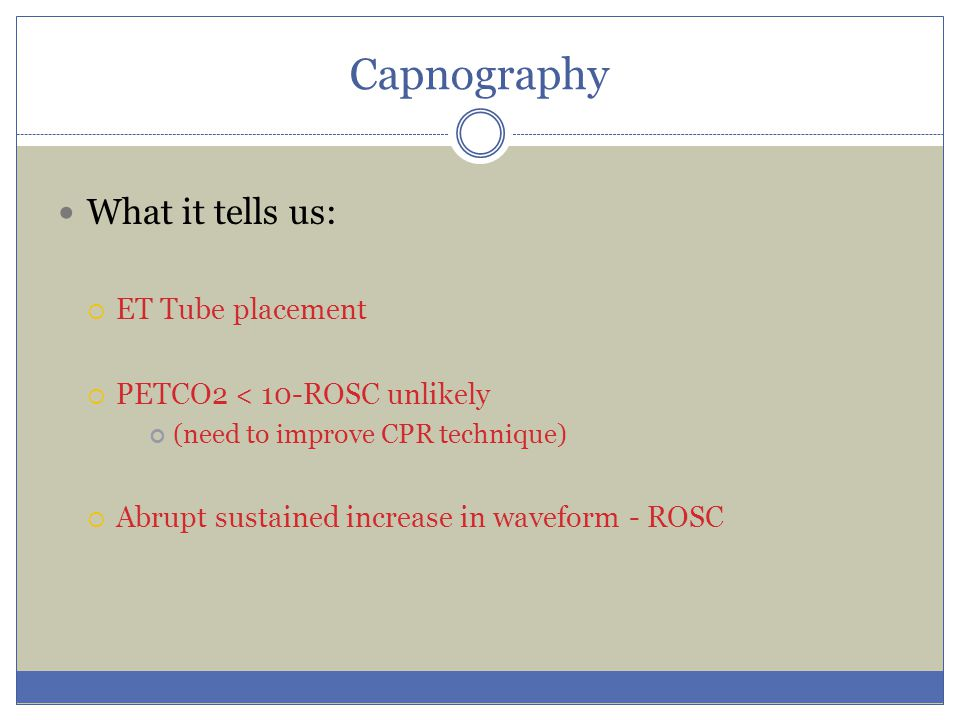 Capnography What it tells us: ET Tube placement
