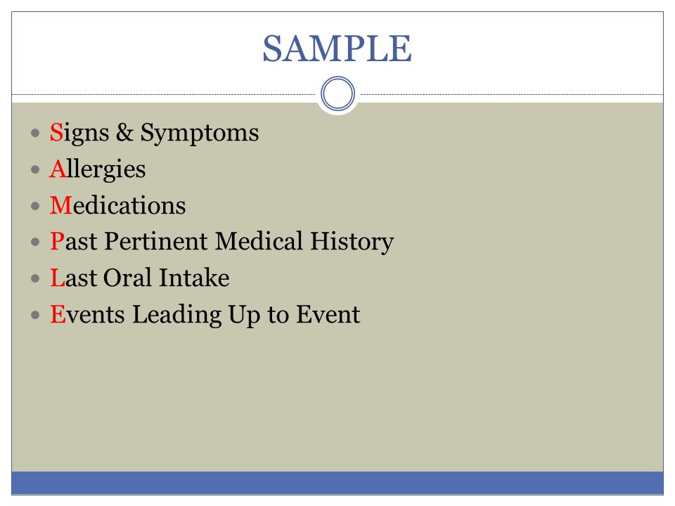 SAMPLE Signs & Symptoms Allergies Medications