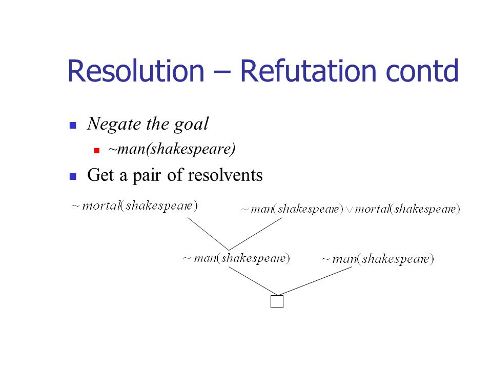 Resolution – Refutation contd