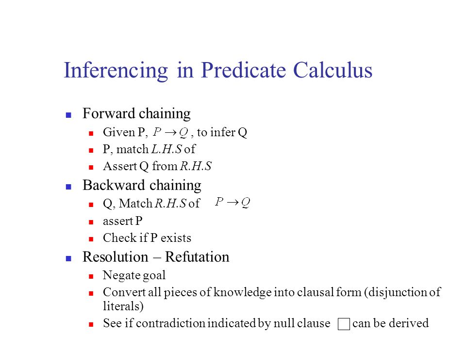 Inferencing in Predicate Calculus
