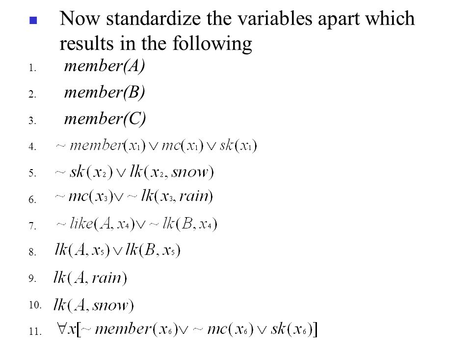 Now standardize the variables apart which results in the following