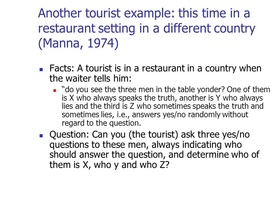 Another tourist example: this time in a restaurant setting in a different country (Manna, 1974)