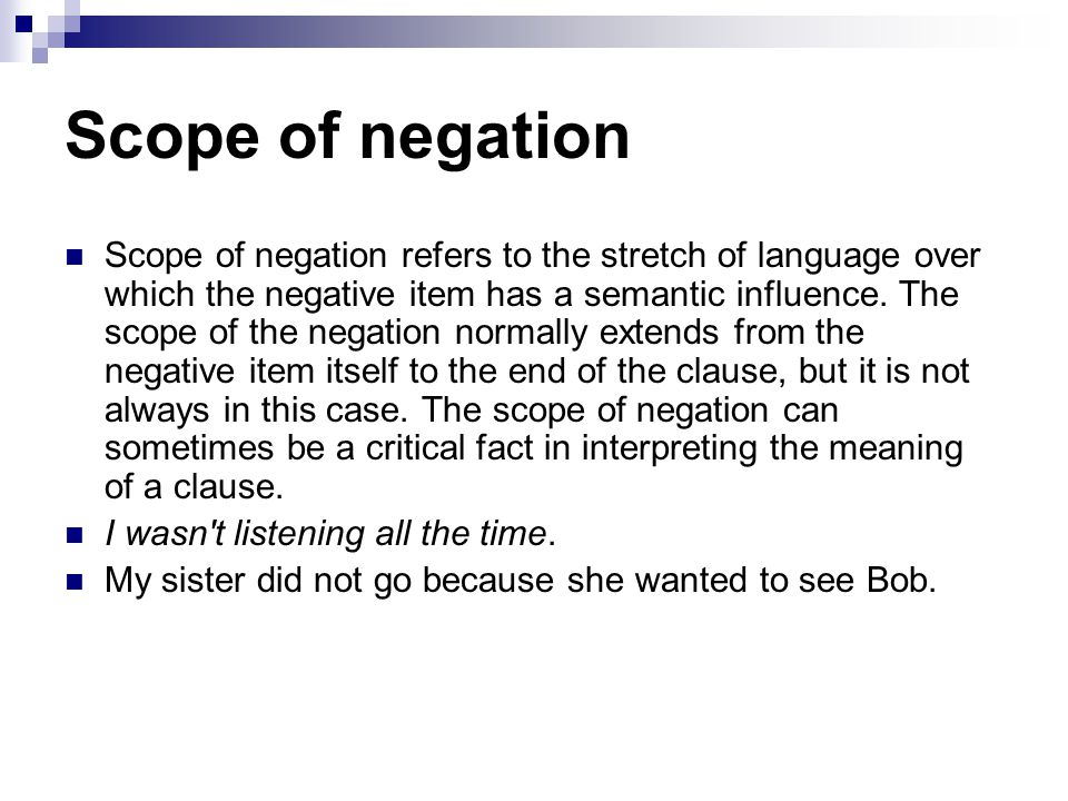 Scope of negation