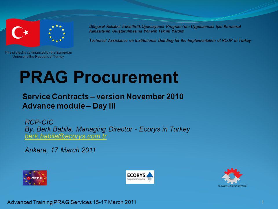 PRAG Procurement Service Contracts – version November 2010