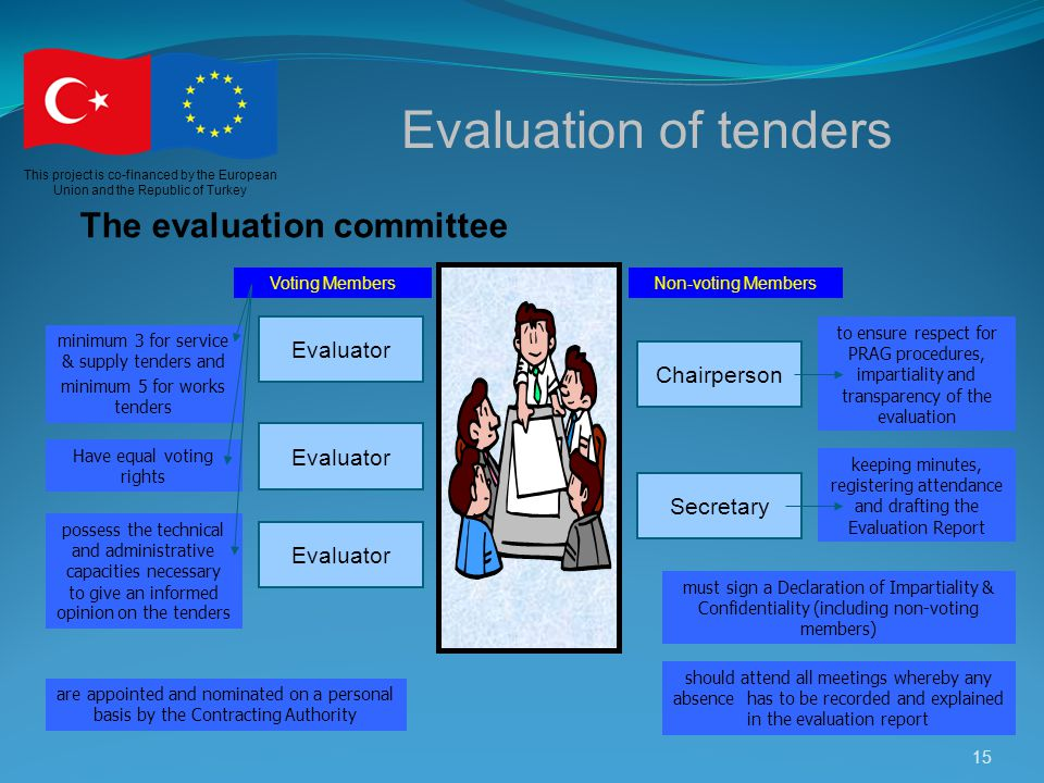 Evaluation of tenders The evaluation committee Evaluator Chairperson