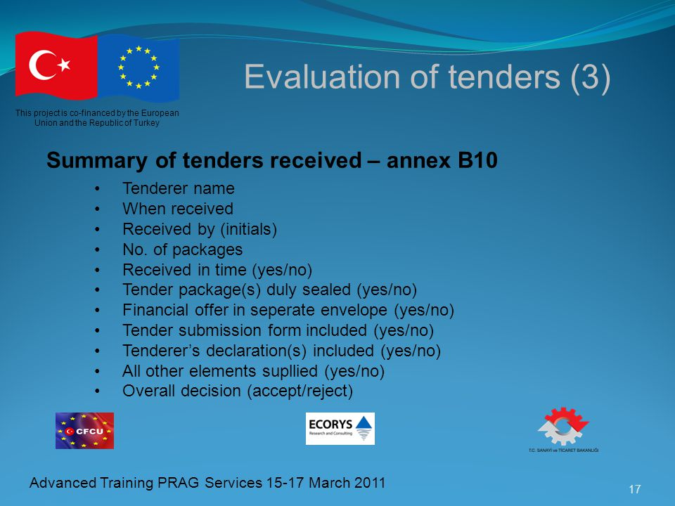 Evaluation of tenders (3)