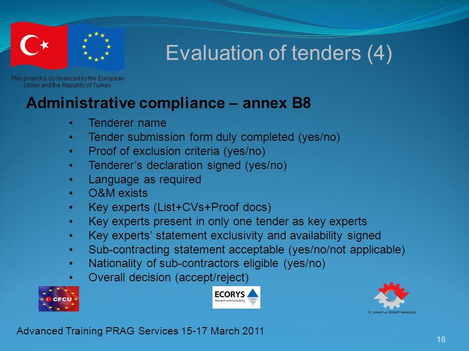 Evaluation of tenders (4)