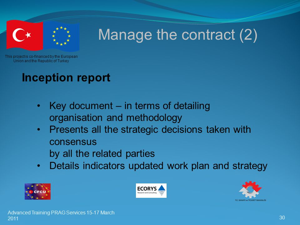 Manage the contract (2) Inception report