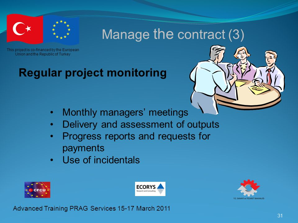 Manage the contract (3) Regular project monitoring