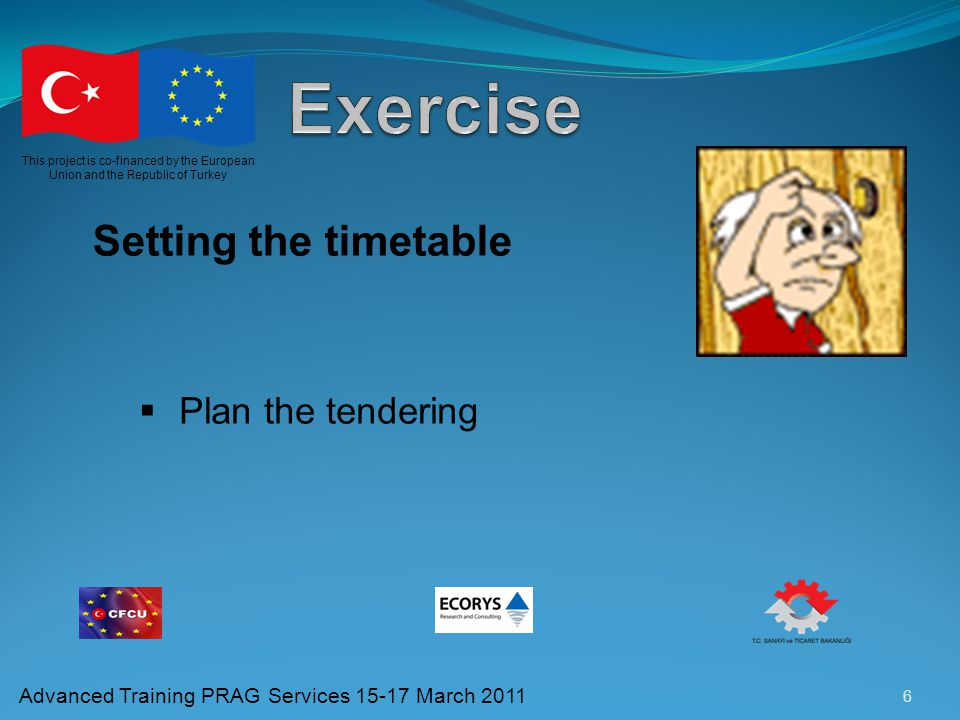 Exercise Setting the timetable Plan the tendering
