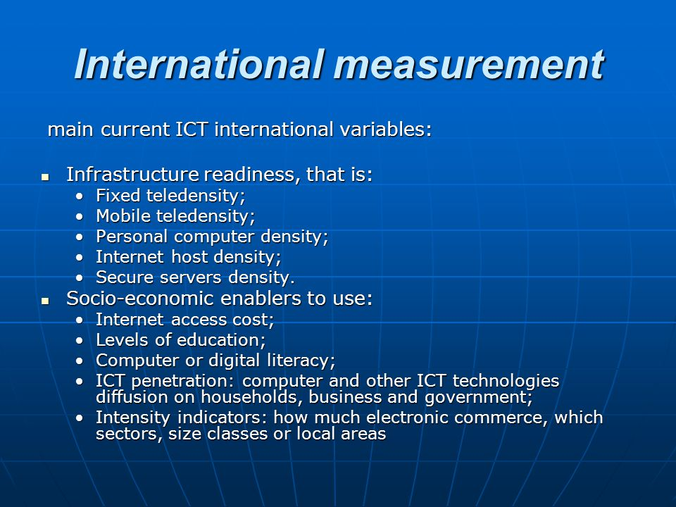 International measurement