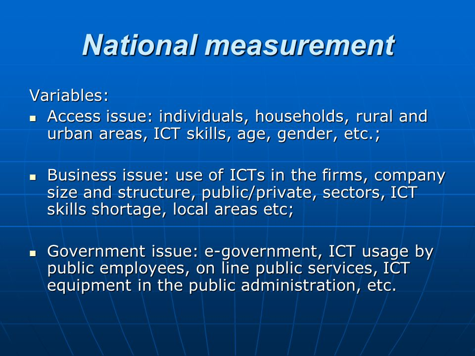 National measurement Variables: