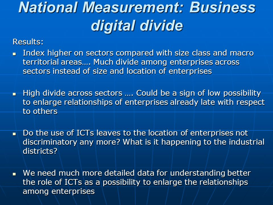 National Measurement: Business digital divide
