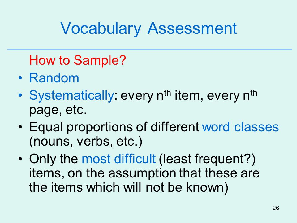 Vocabulary Assessment