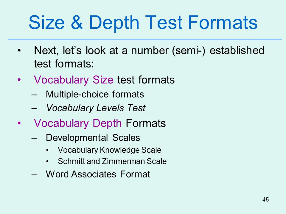 Size & Depth Test Formats