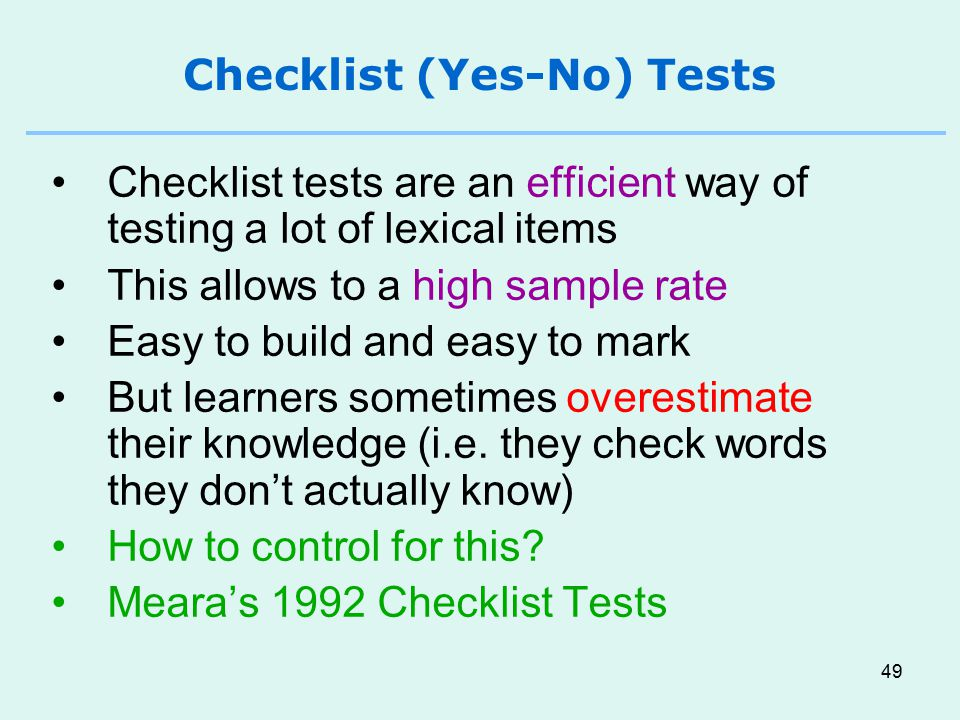 Checklist (Yes-No) Tests