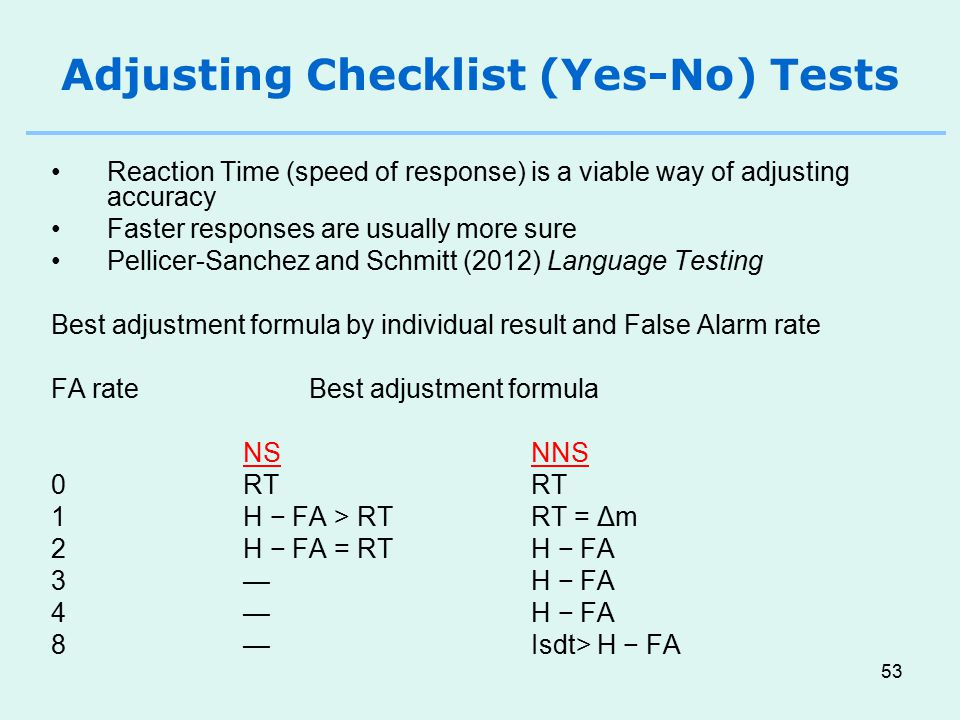 Adjusting Checklist (Yes-No) Tests