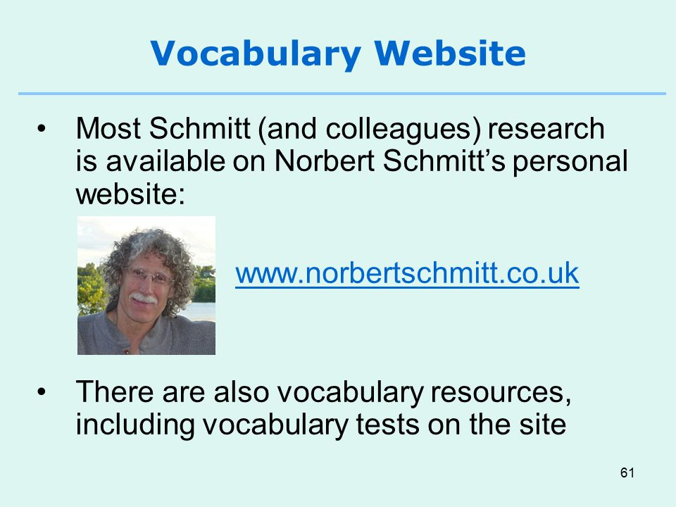 Vocabulary Website Most Schmitt (and colleagues) research is available on Norbert Schmitt's personal website: