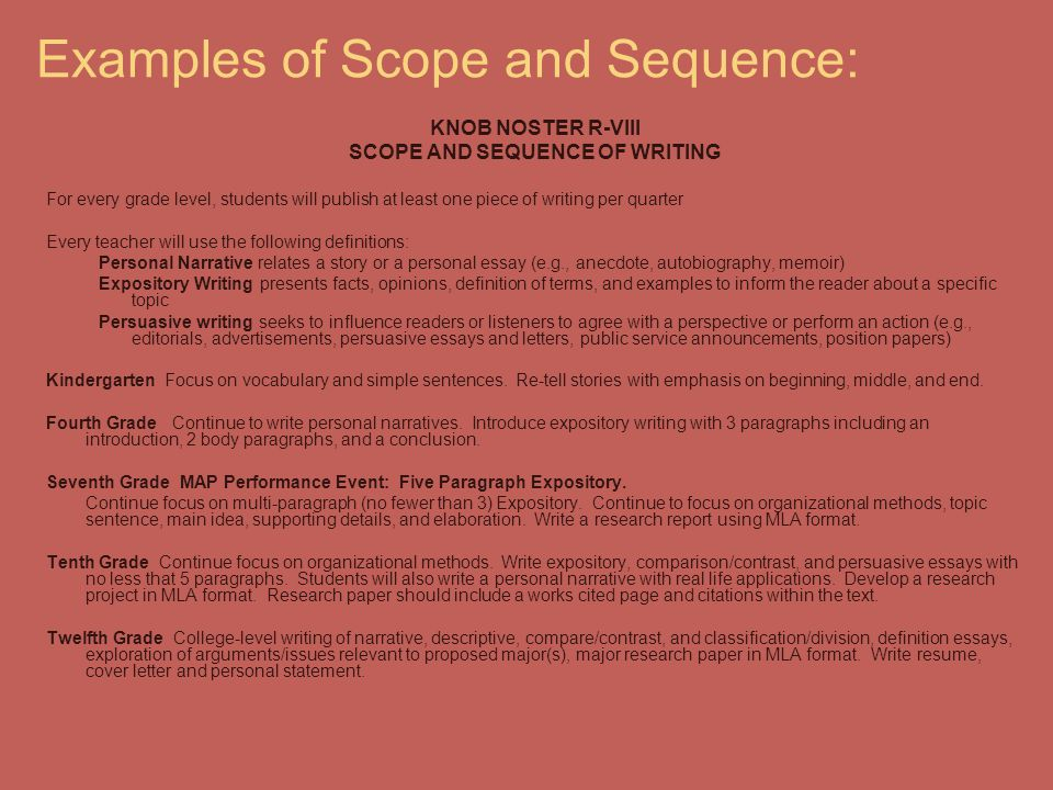 Examples of Scope and Sequence: