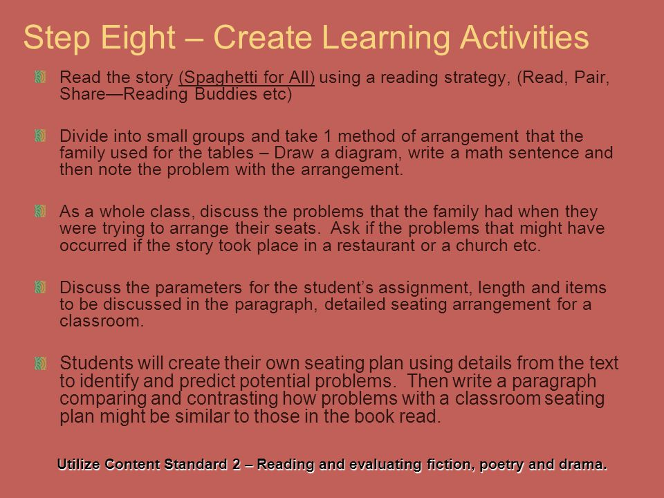 Step Eight – Create Learning Activities